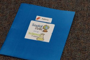 Second grade social studies folder in Sun Prairie classroom